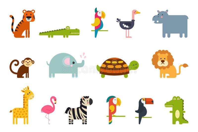 Sistema de animales tropicales y de p?jaros del vector colorido popular stock de ilustración