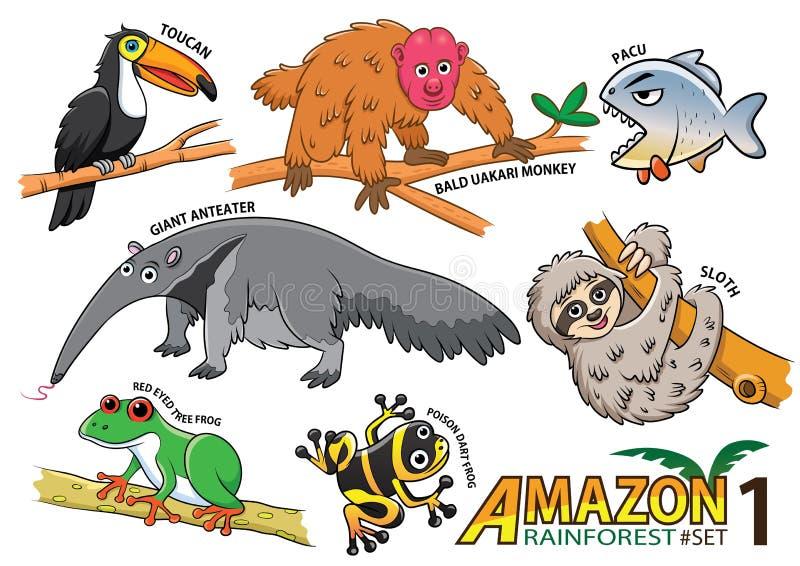 Sistema de animales y de pájaros lindos de la historieta en las áreas del Amazonas de Sou ilustración del vector