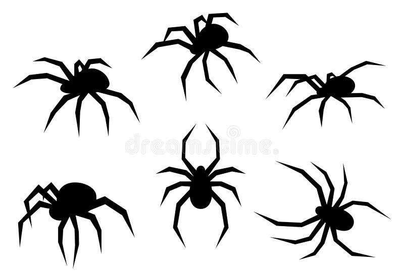 Sistema de arañas negras de la silueta Insectos aislados en el fondo blanco Ilustración del vector ilustración del vector