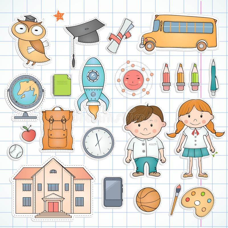 Sistema de artículos de la escuela ilustración del vector