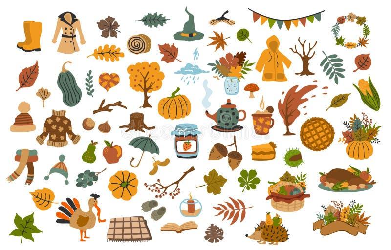 Sistema de artículos estacionales dibujados lindos de la acción de gracias de la caída del otoño stock de ilustración
