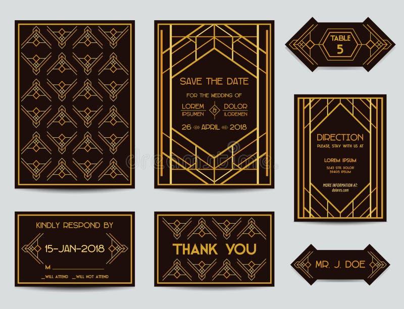 Sistema de Art Deco Wedding Cards libre illustration