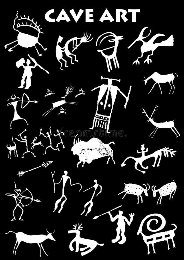 Sistema de arte de la cueva en fondo negro libre illustration