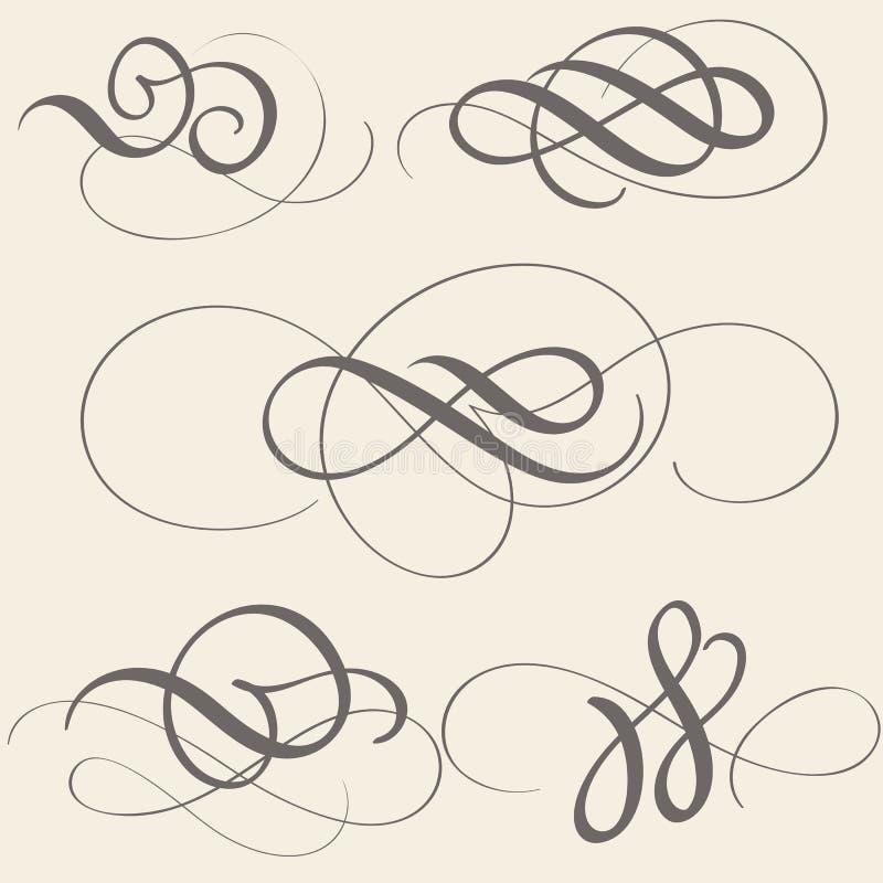 Sistema de arte del flourish de la caligrafía con los espirales decorativos del vintage para el diseño en fondo beige Ilustración ilustración del vector