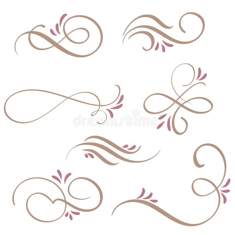 Sistema de arte del flourish de la caligrafía con los espirales decorativos del vintage para el diseño Ilustración EPS10 del vect stock de ilustración