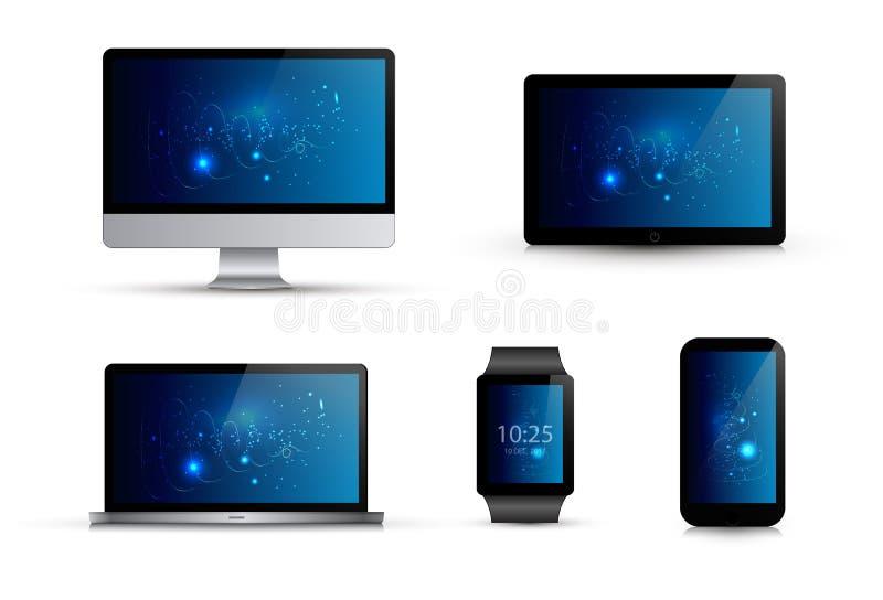 Sistema de artilugios electrónicos realistas Monitor de computadora, ordenador portátil, reloj elegante, teléfono móvil, tableta libre illustration