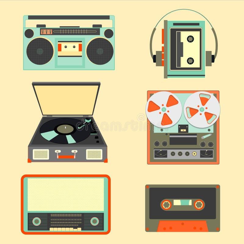 Sistema de artilugios retros de la música a partir del siglo XXI Devic musical viejo stock de ilustración