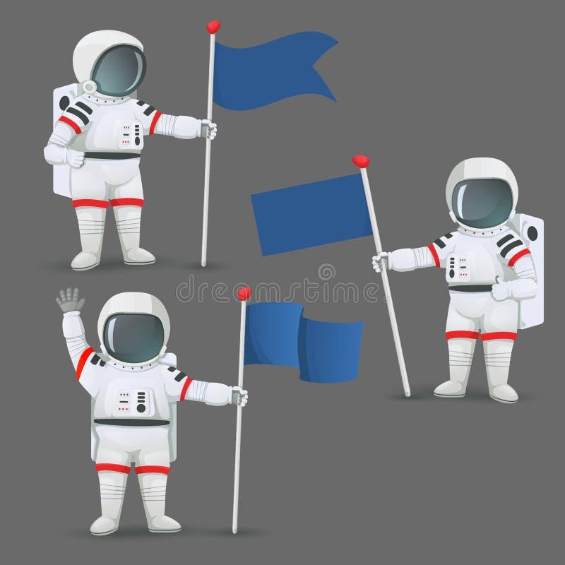 Sistema de astronautas con diversos gestos que colocan y que sostienen banderas ilustración del vector