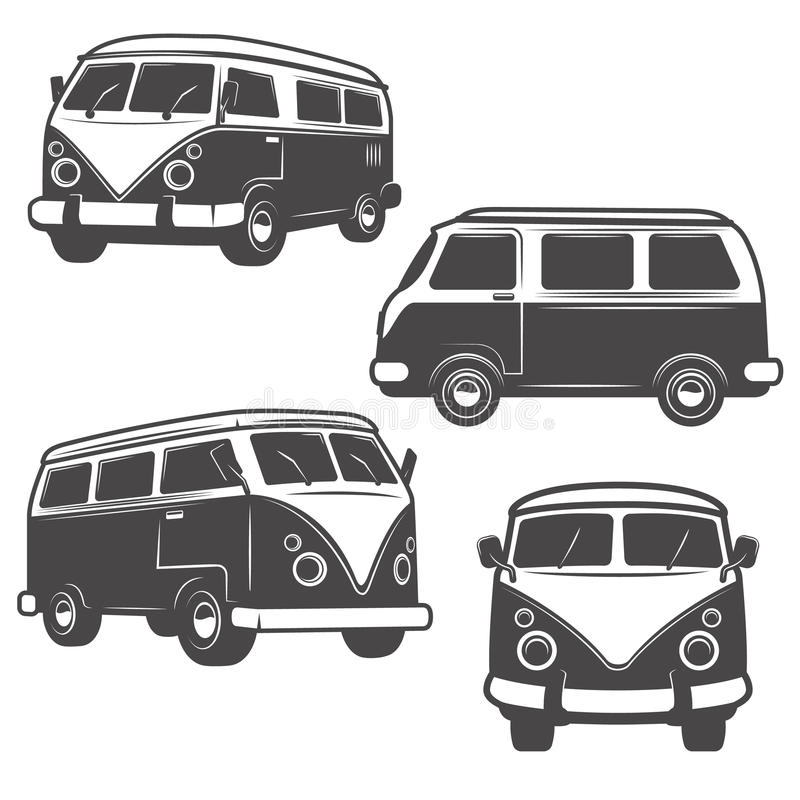 Sistema de autobuses retros del hippie aislados en el fondo blanco Diseño ilustración del vector