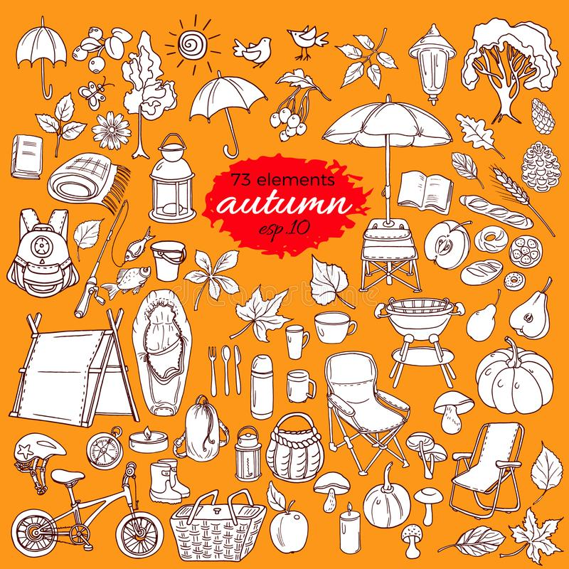 Sistema de Autumn Elements en el fondo blanco Diseño del garabato Vector libre illustration