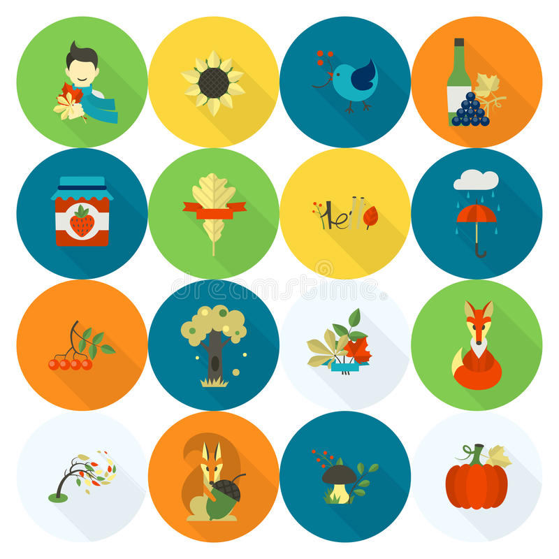 Sistema de Autumn Icons plano libre illustration