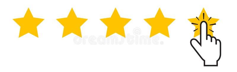 Sistema de avaliação do produto - 5 estrelas e ponteiro de rato tocante - ilustração do vetor - isolada no branco ilustração royalty free