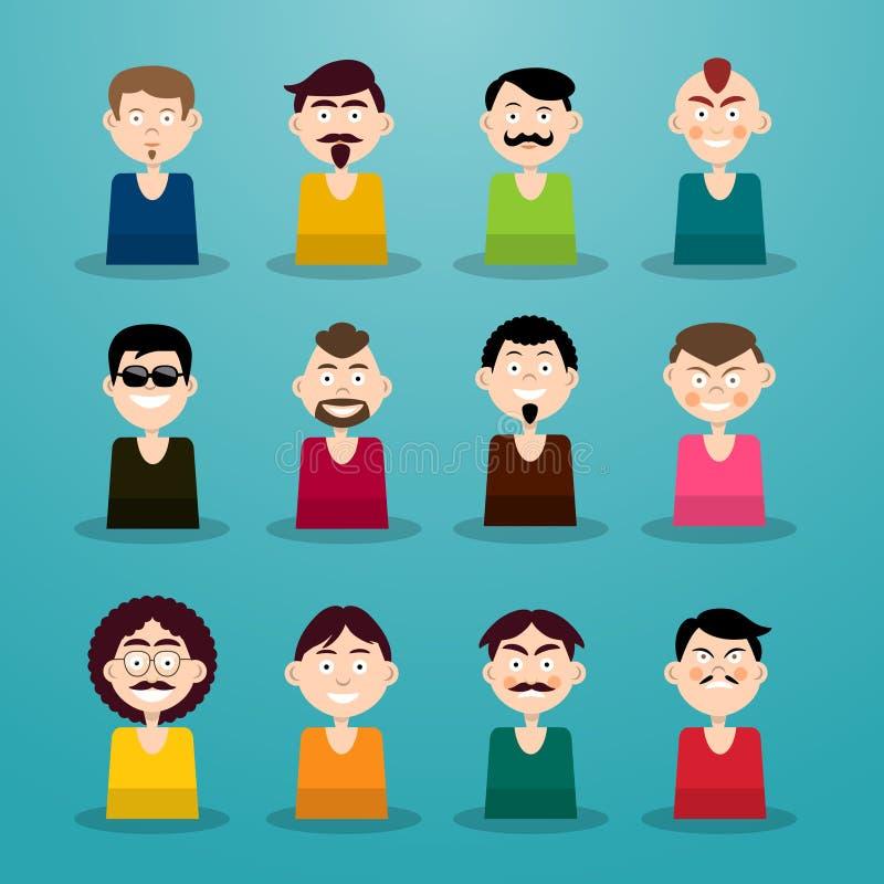 Sistema de Avatar Iconos de los usuarios de los hombres ilustración del vector