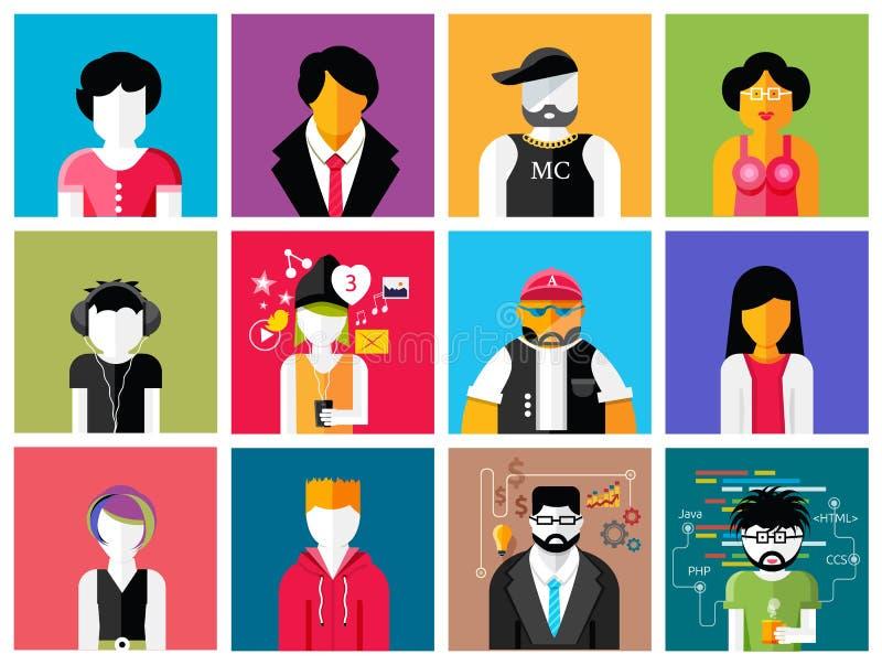 Sistema de avatares elegantes de los iconos del hombre y de la mujer libre illustration
