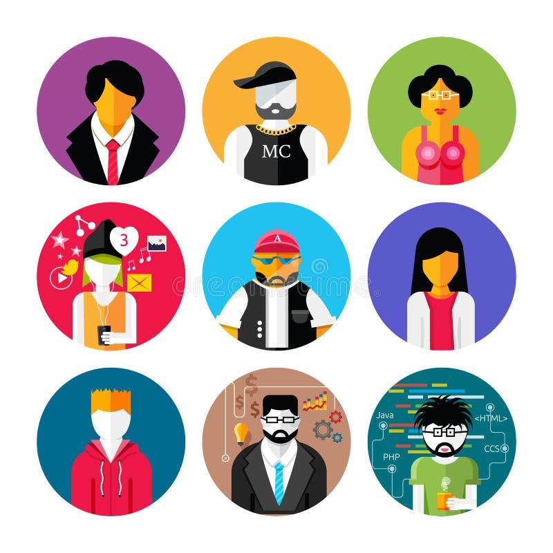 Sistema de avatares elegantes de los iconos del hombre y de la mujer ilustración del vector