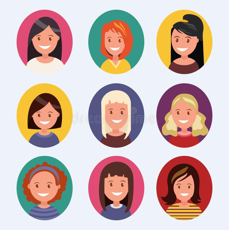Sistema de avatares femeninos hermosos con diversos peinados libre illustration