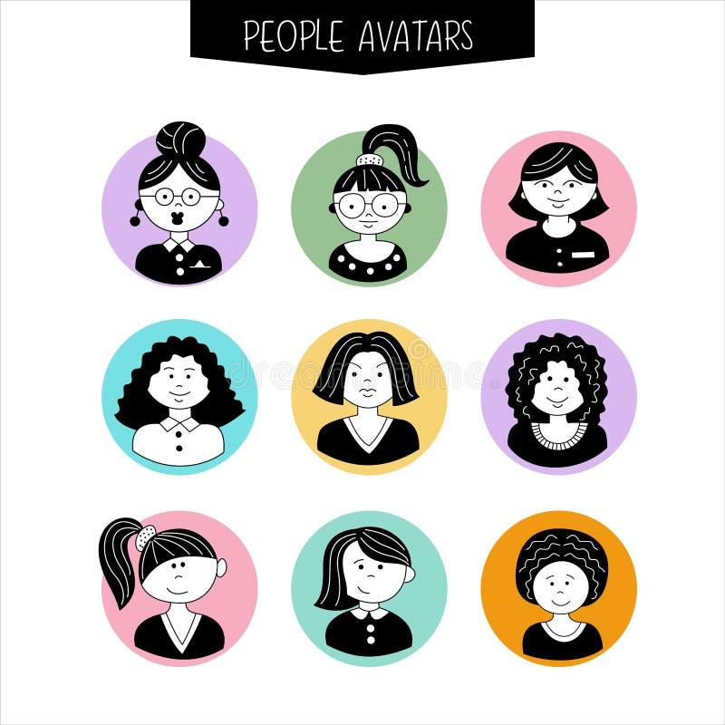 Sistema de avatares Muchachas con diversos peinados A mano ilustración del vector