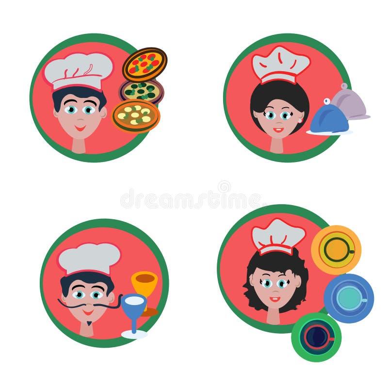 Sistema de avatares o de iconos del cocinero para el web, diseño del menú, ejemplo del vector de la persona Estilo resumido color libre illustration