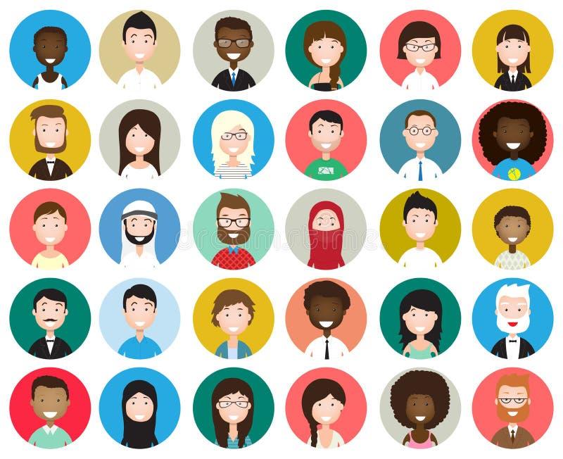 Sistema de avatares redondos diversos stock de ilustración