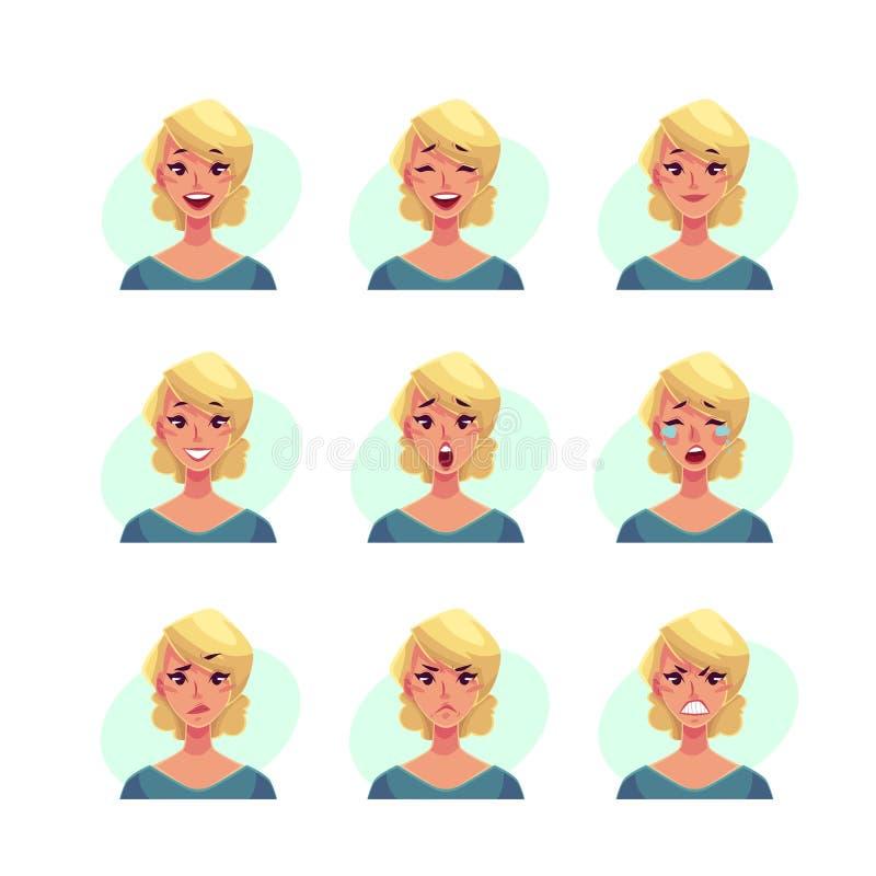 Sistema de avatares rubios de la expresión de la cara de la mujer ilustración del vector