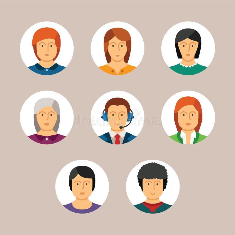 Sistema de avatares y de caracteres del vector en estilo plano stock de ilustración
