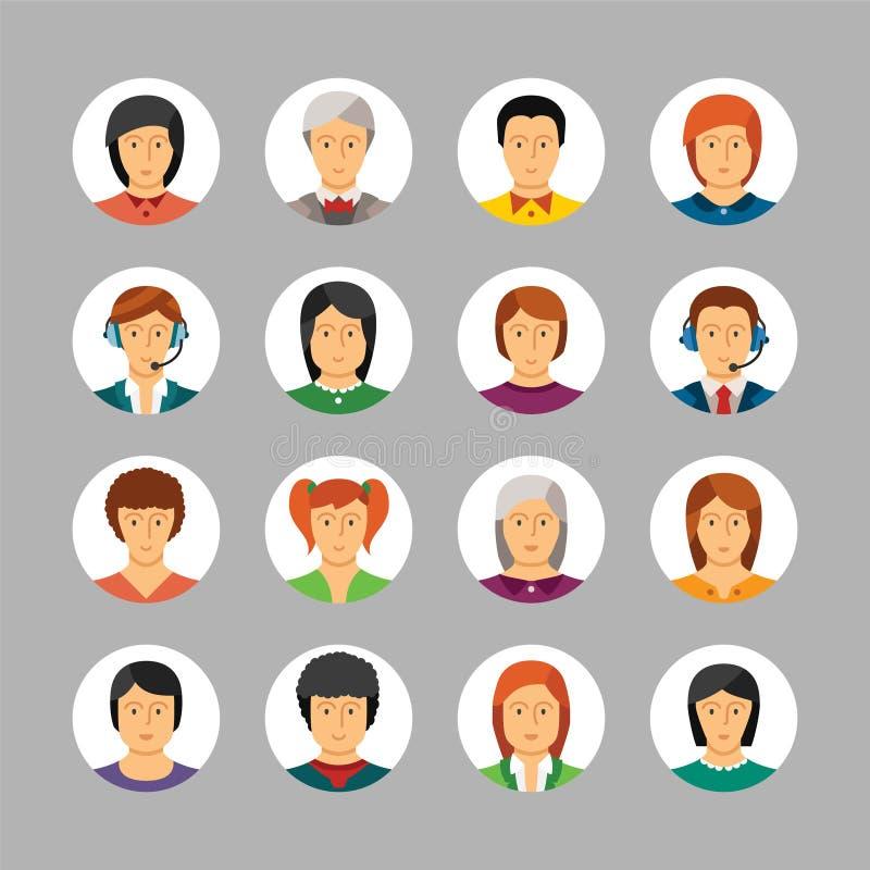 Sistema de avatares y de caracteres del vector en estilo plano ilustración del vector