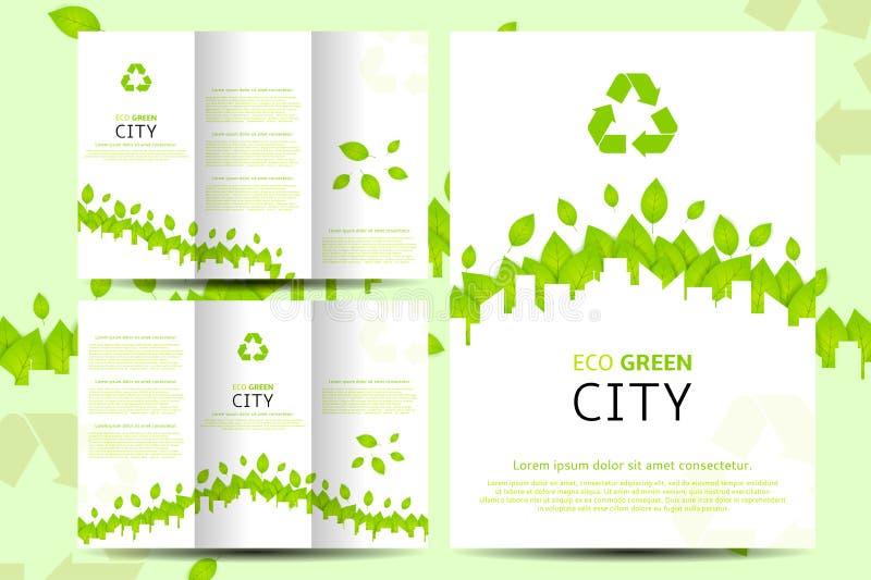 Sistema de aviadores y de folletos del verde del eco con el lugar para el texto ilustración del vector