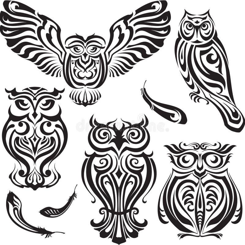 Sistema de búhos decorativos libre illustration