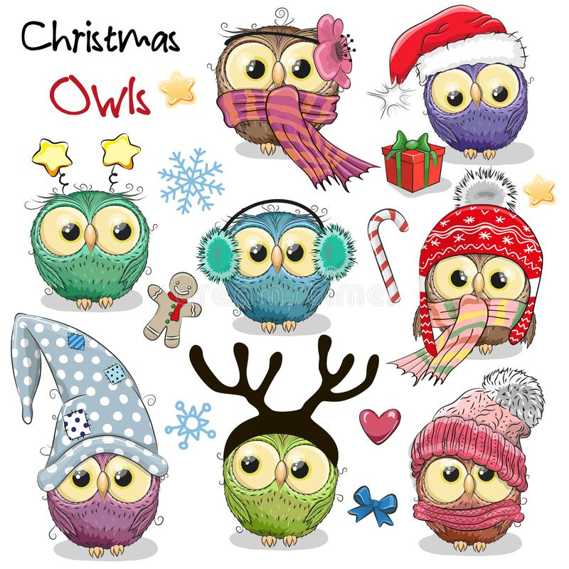 Sistema de búhos de la Navidad en un fondo blanco libre illustration