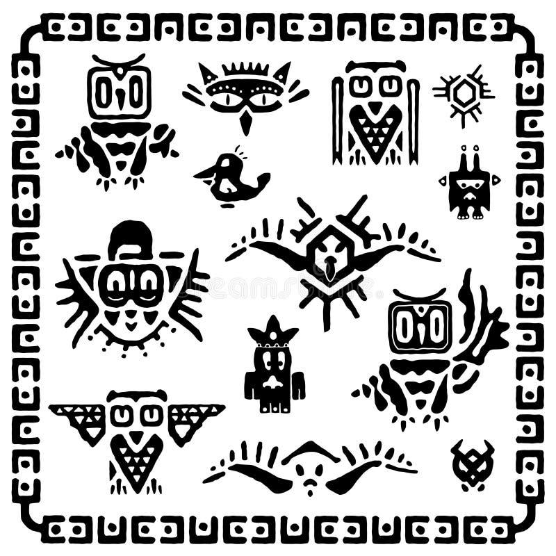 Sistema de búhos tribales Elementos y símbolos antiguos del maya stock de ilustración