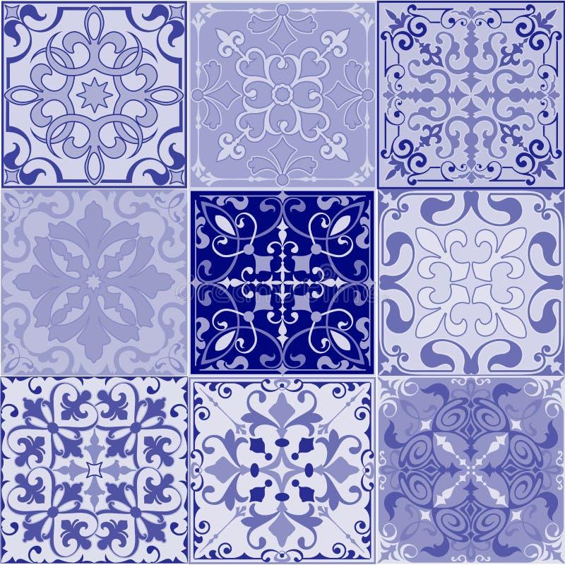 Sistema De Baldosas Cerámicas Inconsútiles En Colores Retros Azules ...