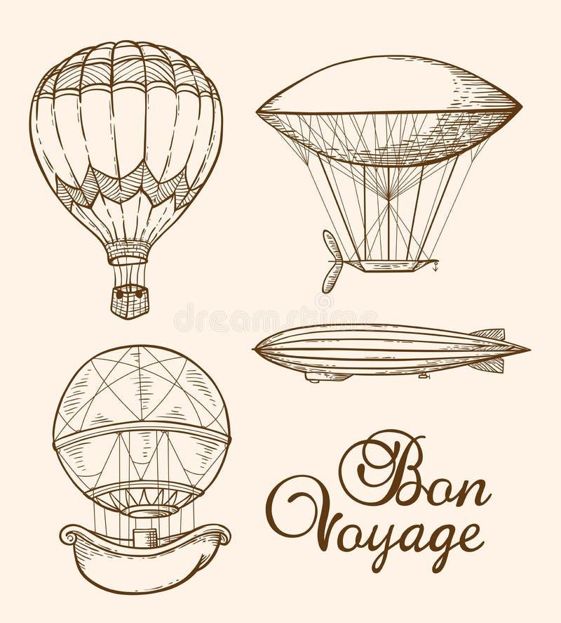 Sistema de balones de aire del vintage libre illustration