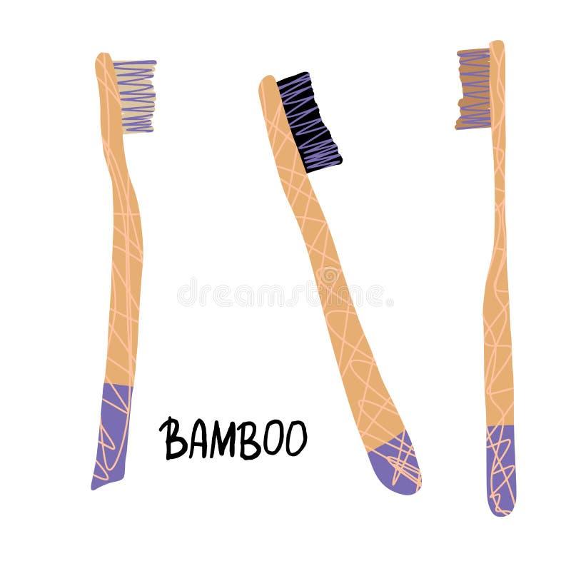 Sistema de bambú de los cepillos de dientes Ilustración del vector libre illustration