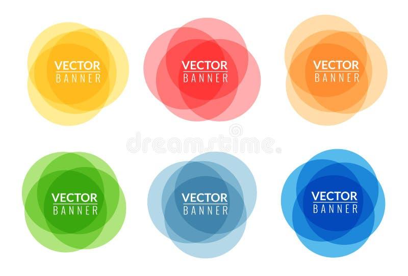 Sistema de banderas abstractas redondas coloridas Diseño gráfico de las banderas ilustración del vector