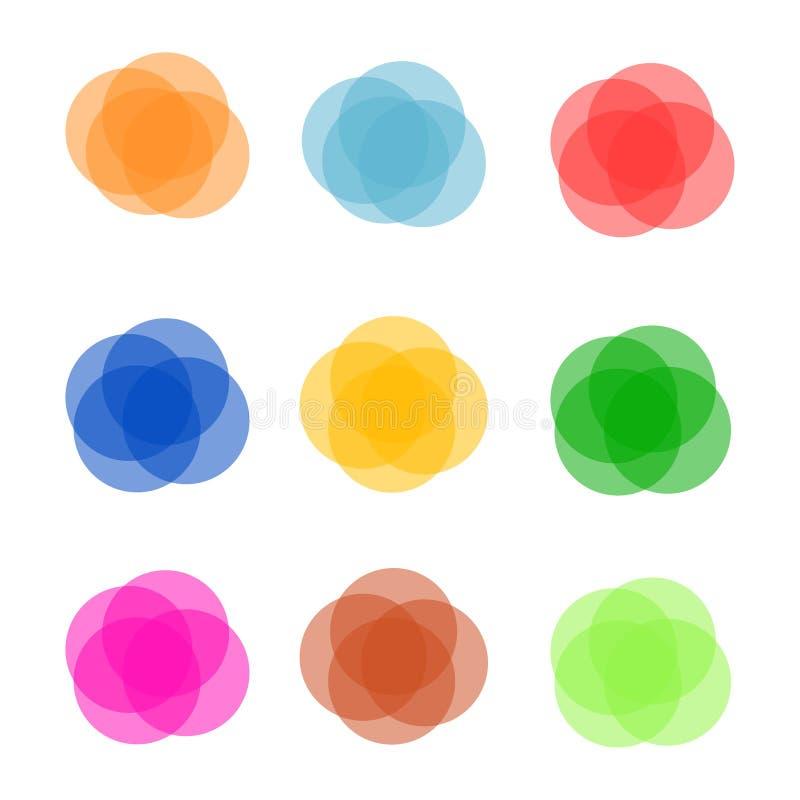 Sistema de banderas abstractas redondas coloridas Diseño gráfico de las banderas Ilustración del vector ilustración del vector