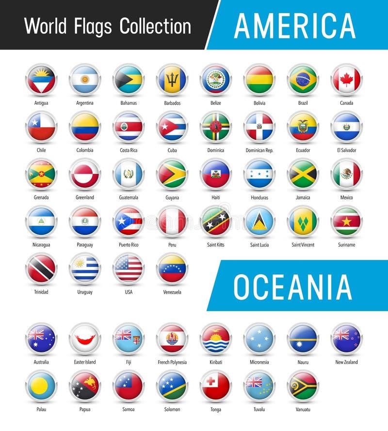Sistema de banderas americanas y Oceanian - Vector alrededor de iconos stock de ilustración