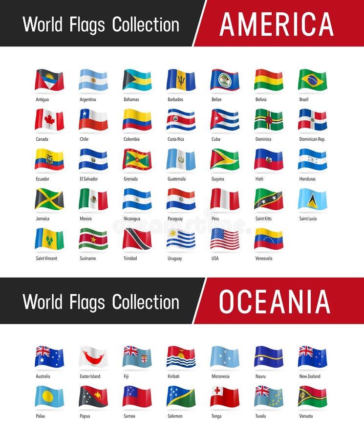 Sistema de banderas americanas y Oceanian - Vector los ejemplos stock de ilustración