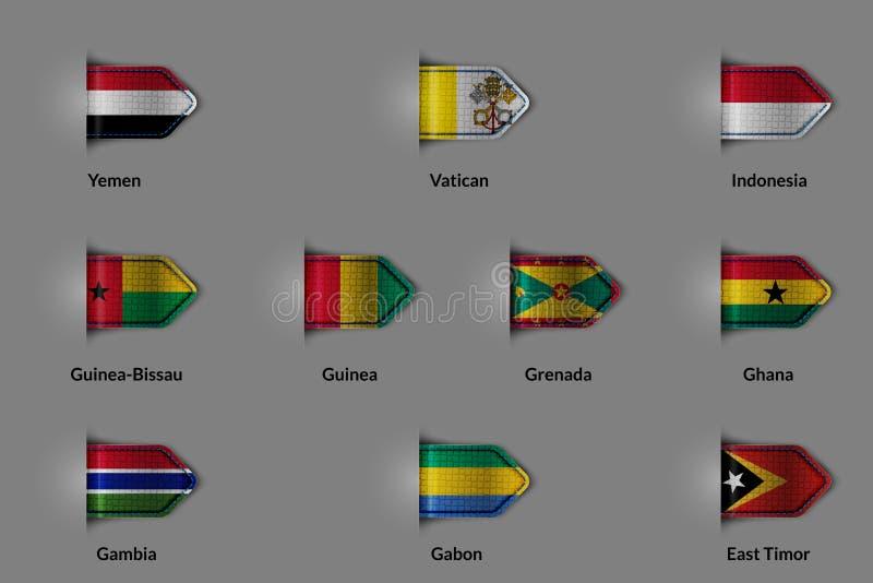 Sistema de banderas bajo la forma de etiqueta o señal texturizada brillante Vaticano Indonesia Guinea-Bissau Guinea Grenada Ghana stock de ilustración