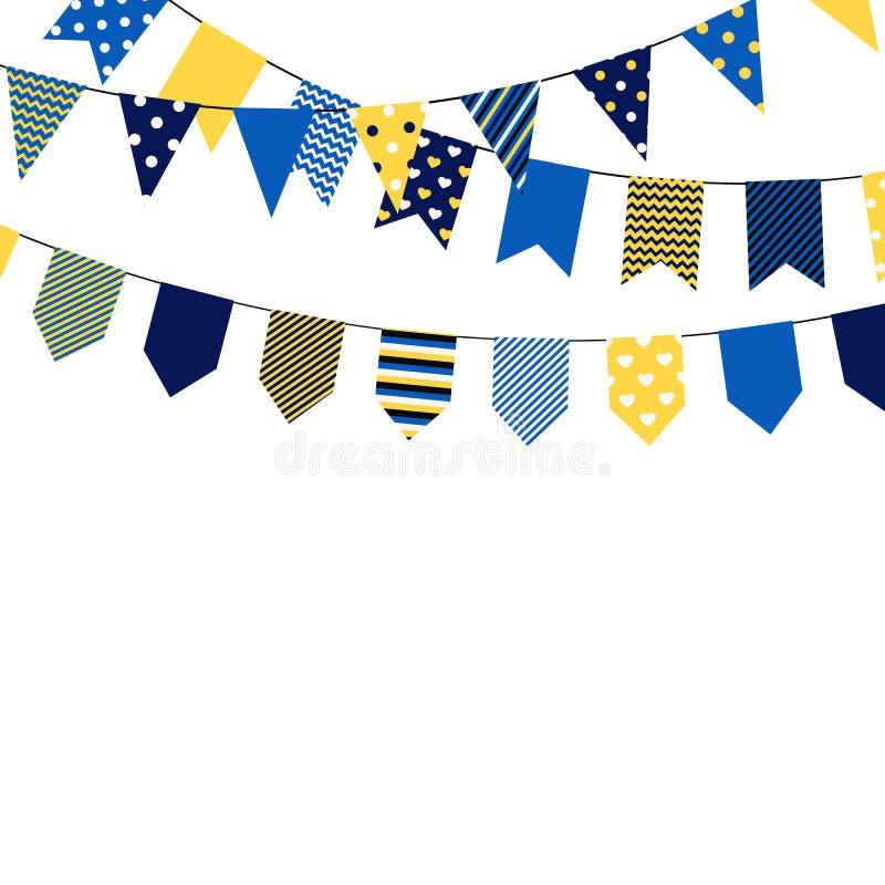 Sistema de banderas bounting Elementos decorativos en el fondo blanco Colección para las tarjetas de felicitación del cumpleaños  ilustración del vector