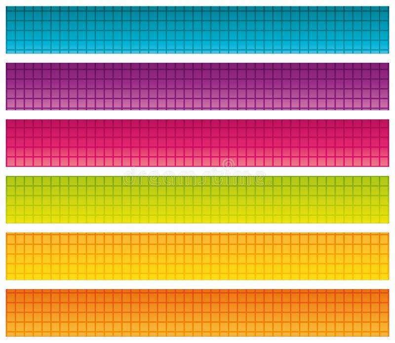 Sistema de banderas brillantes coloridas. ilustración del vector