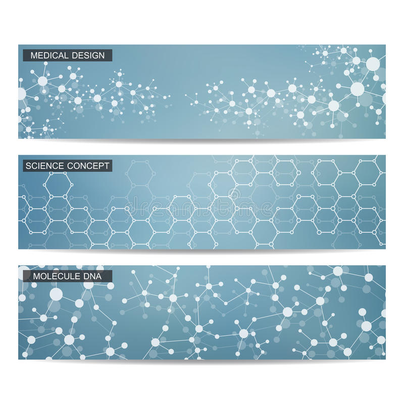 Sistema de banderas científicas modernas DNA de la estructura de la molécula y neuronas abstraiga el fondo Medicina, ciencia, tec ilustración del vector