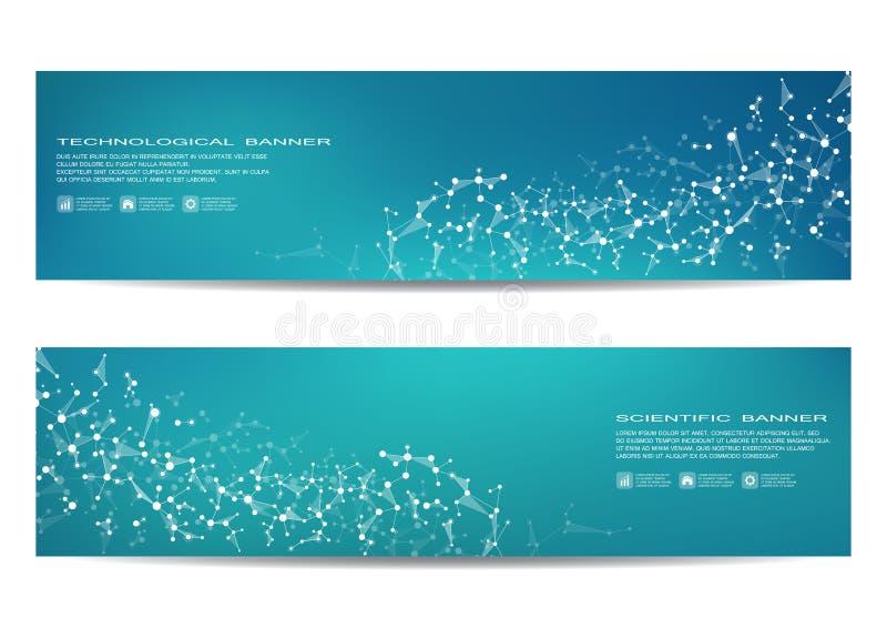 Sistema de banderas científicas modernas DNA de la estructura de la molécula y neuronas abstraiga el fondo Medicina, ciencia, tec libre illustration