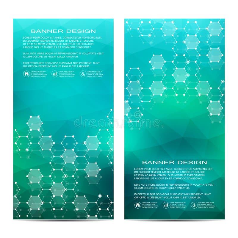 Sistema de banderas científicas verticales modernas Estructura de la molécula de la DNA y de las neuronas abstraiga el fondo Medi ilustración del vector