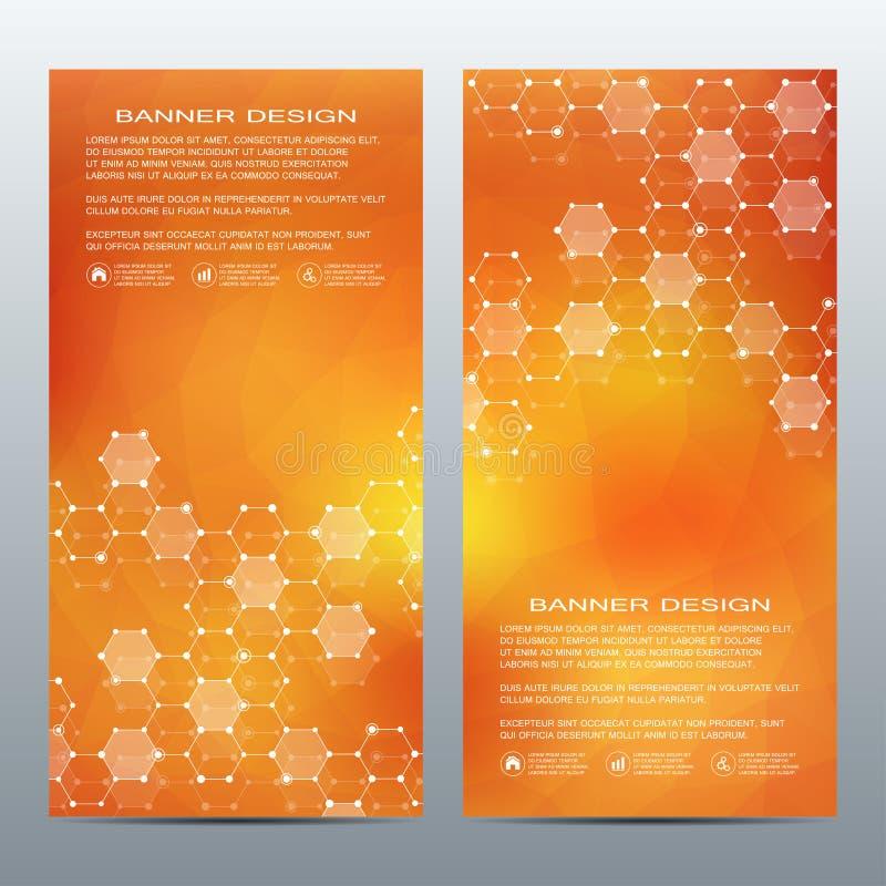 Sistema de banderas científicas verticales modernas Estructura de la molécula de la DNA y de las neuronas abstraiga el fondo Medi libre illustration