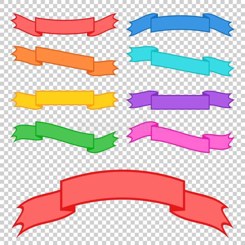 Sistema de banderas coloreadas de la cinta Con el espacio para el texto Un ejemplo plano simple del vector aislado en un fondo tr libre illustration