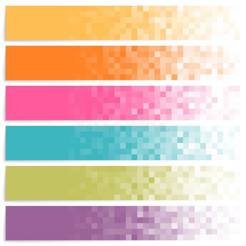 Sistema de banderas coloridas del pixel stock de ilustración