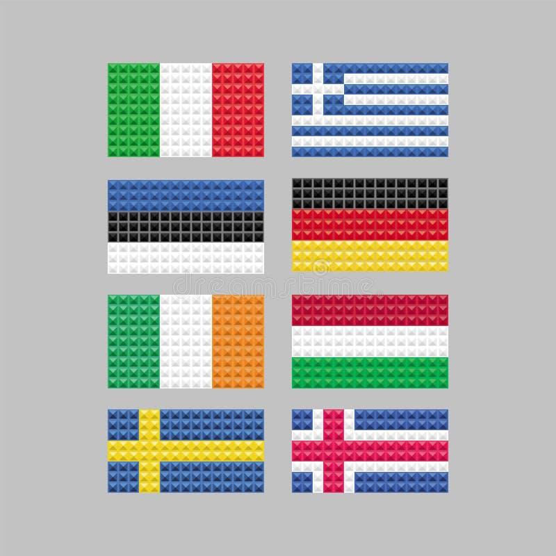 Sistema de banderas compuesto de cuadrados ilustración del vector