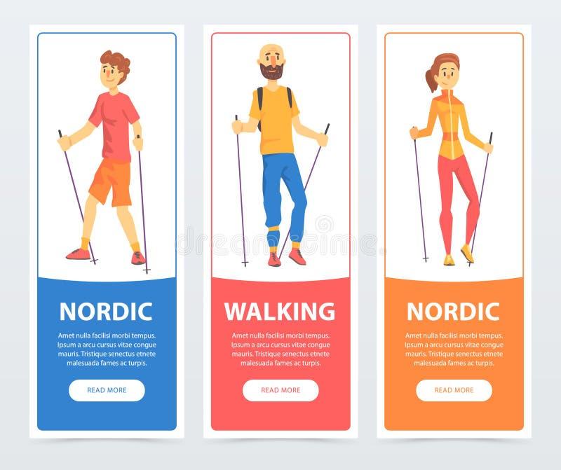 Sistema de banderas con caminar nórdico de la gente Salud-promover actividad física Caracteres del muchacho, del hombre y de la m stock de ilustración