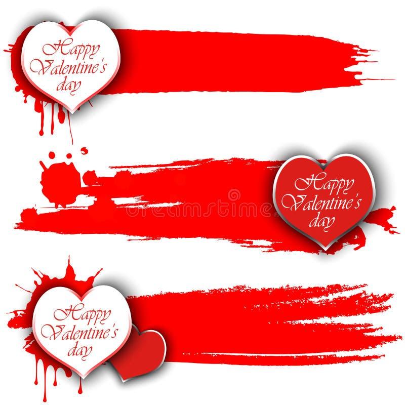 Sistema de banderas con día feliz del ` s de la tarjeta del día de San Valentín ilustración del vector