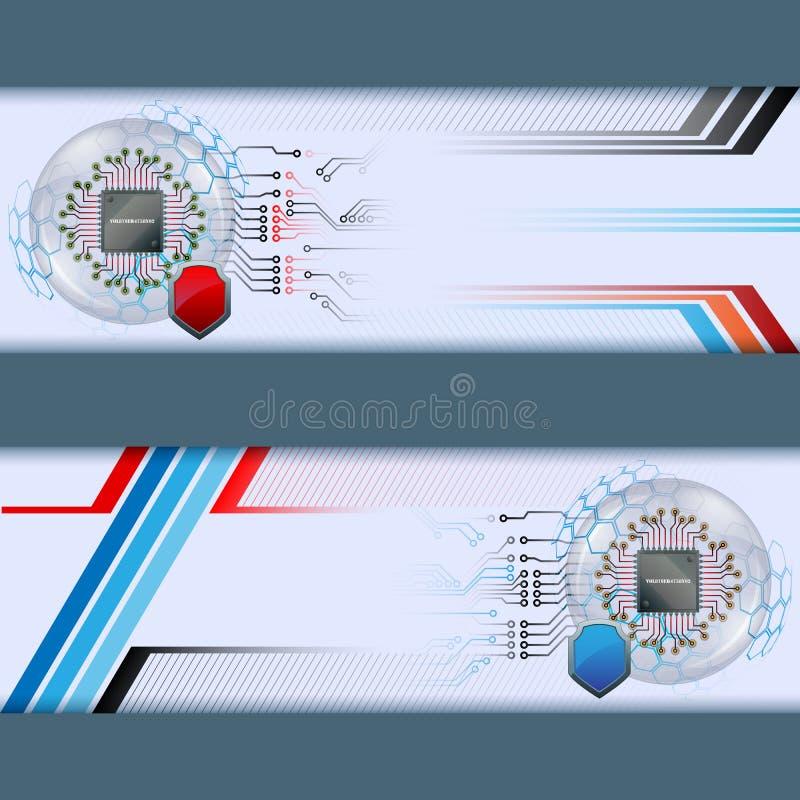Sistema de banderas con el microprocesador y el escudo de procesador stock de ilustración